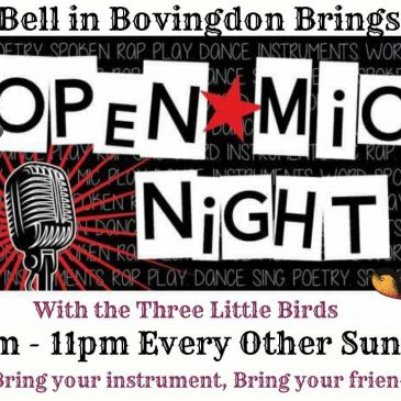 Open Mic Night Sunday 21st July, Sunday 4th and Sunday 18th August